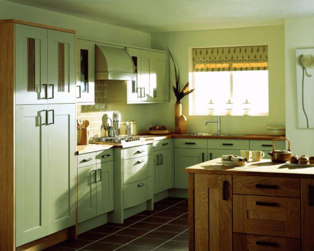 green kitchen black cabinets