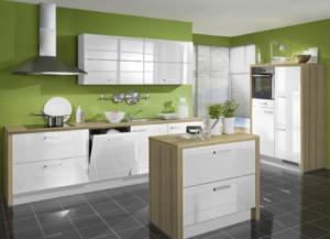green kitchen cabinets white countertops