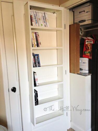 DVD rack behind the door