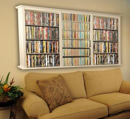 Store DVD on the wall