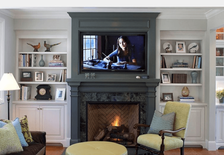 fireplace Mantel and the TV backdrop