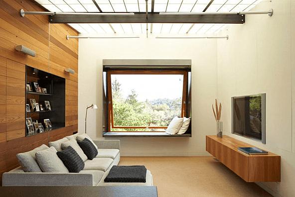 minimalist living room wall hanging tv