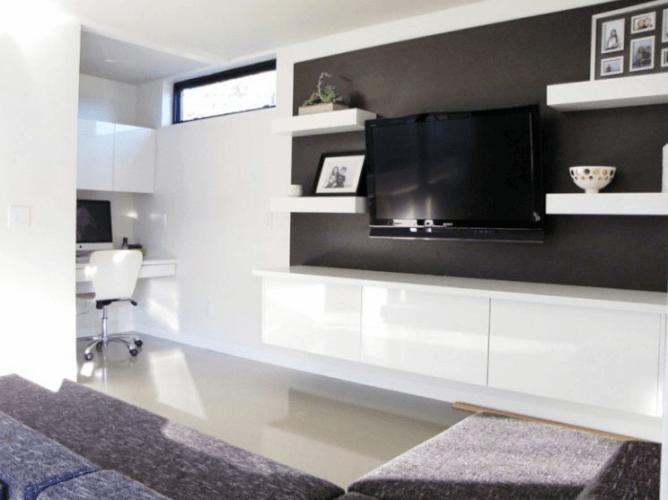 modern living room black wall behind tv