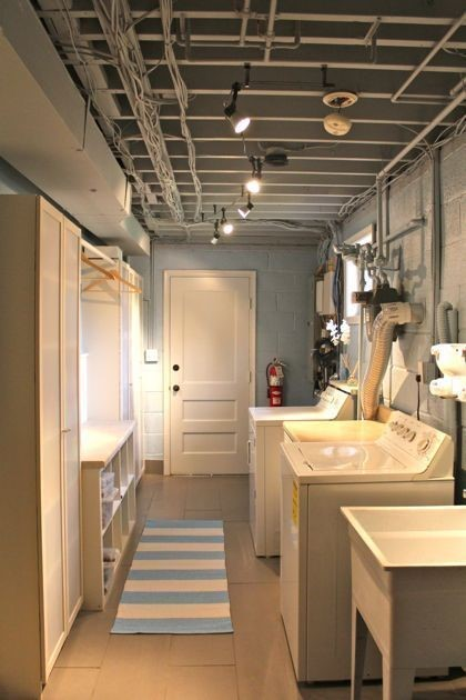 Basement Laundry Room Ideas - Industrial Vibes with Exposed Ceiling