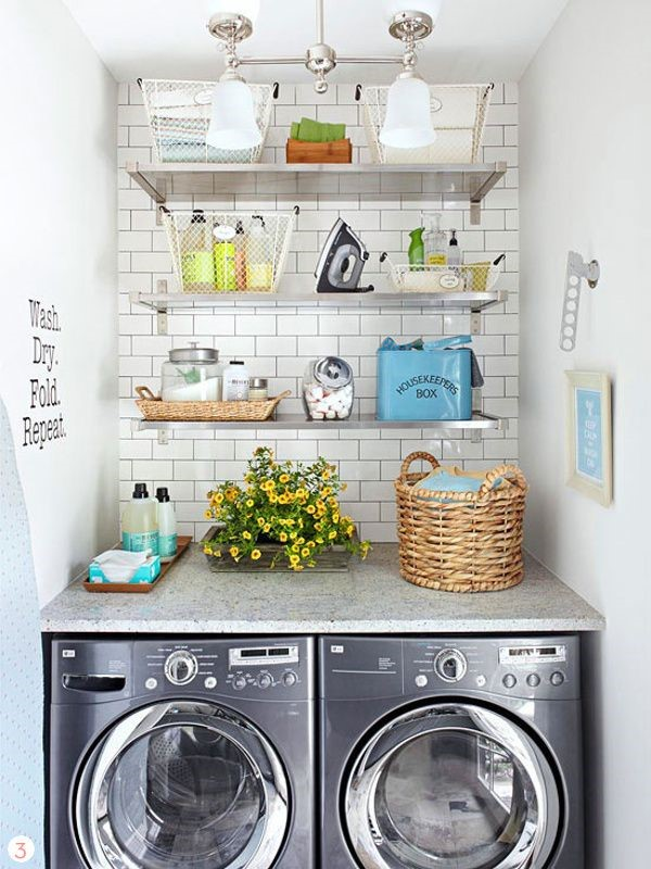 Basement Laundry Room Ideas - Enlivening the Basement with Open Shelve