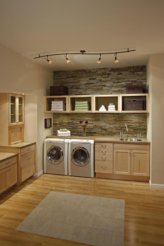 Basement Laundry Room Ideas - Warm Ambience of Wood and Stone