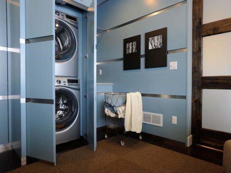Basement Laundry Room Ideas - Baby Blue Basement Laundry Room