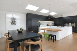 black and white kitchens with black appliances