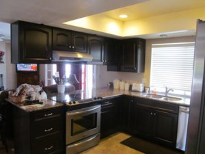 Kitchens with black appliances and minimalist cabinet