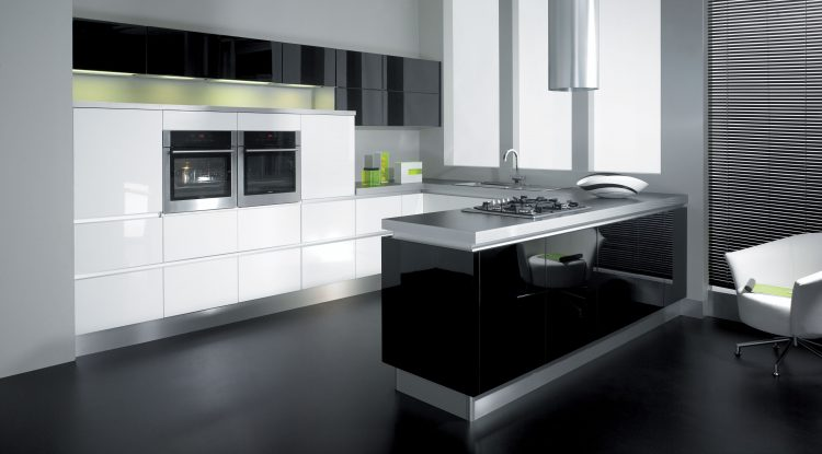 L-shaped ultra-modern kitchens with black appliances