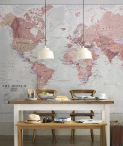 Map Wallpaper Accent Wall Ideas