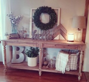 entry table with shelves