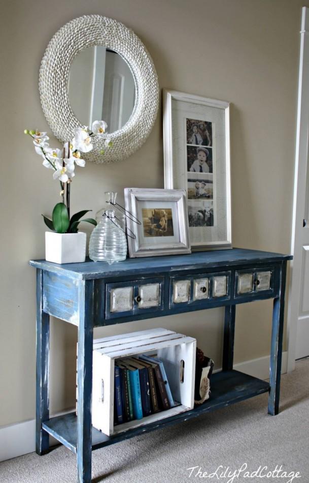 Rustic blue entryway table