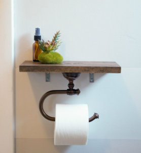Toilet Paper Holder and Wooden Shelf