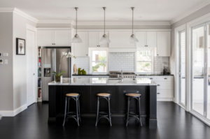 white kitchen with black appliances images