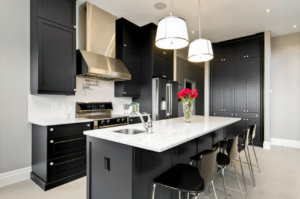 contemporary kitchens with black appliances