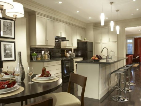 white cabinets with black appliances pictures