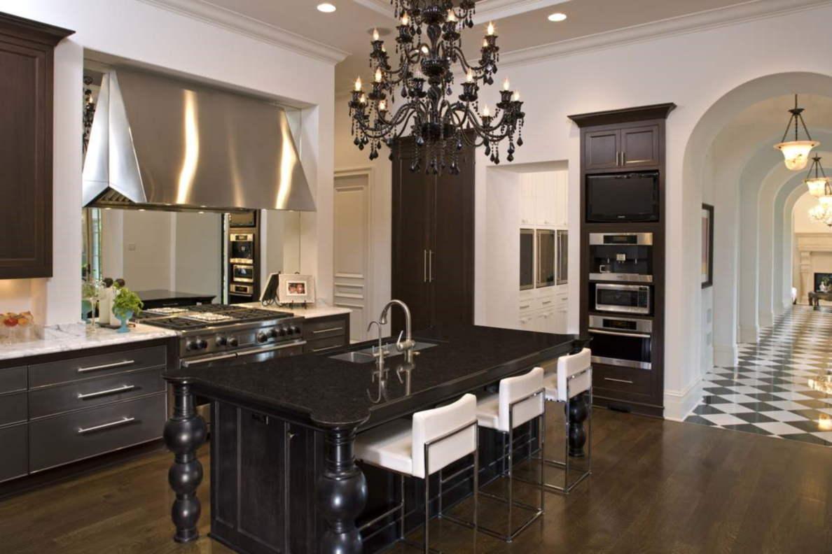 kitchen cabinet with black appliances