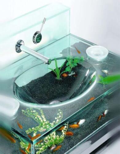 aquarium furniture design with bathroom sink
