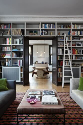 Grey wall home library