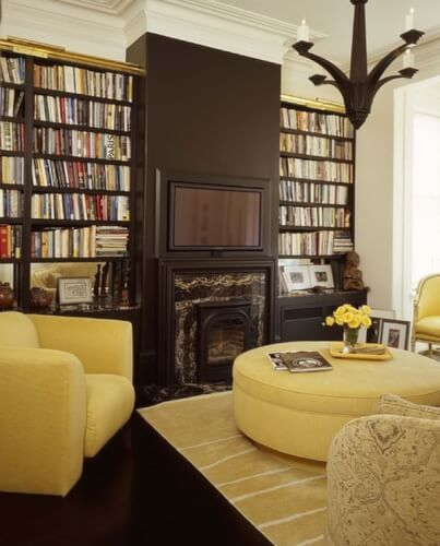 yellow home library room ideas
