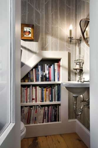 bookcase in bathroom and home library