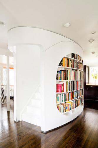 curved home library ideas