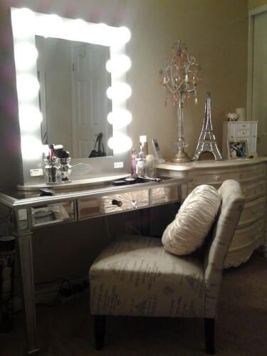 makeup vanity mirror with lights DIY